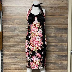 Voodoo Vixen Dark Floral Pencil Dress NWT